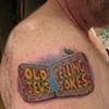 old jews telling jokes, lettering, custom tattoo, Provincetown, Cape Cod, Coastline, Ptown