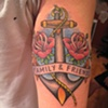 friends and family, anchor and roses, lettering, custom tattoo, Provincetown, Cape Cod, Coastline, Ptown