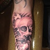 skull forearm, water, waves, black and grey,  custom tattoo, Provincetown, Cape Cod, Coastline, Ptown