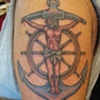 jesus on anchor with ship's wheel