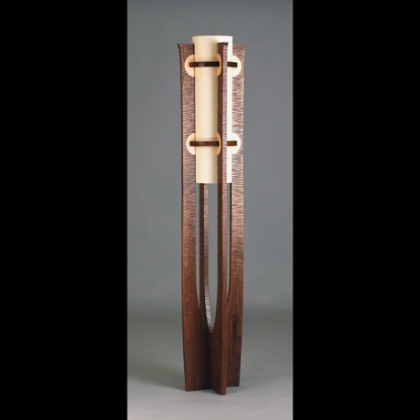 Hand carved walnut floor lamp with figured maple inlays handmade by Kyle Dallman