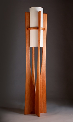 cherry wood floor lamp handmade by Kyle Dallman