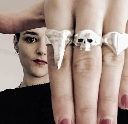Jehnny Beth, Savages Shark Tooth Ring,cover of Adore Life, jewelry by jennifer tull westberg