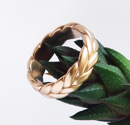 yellow gold wide braid ring
