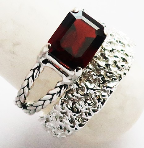 Deep Red Garnet, Custom Sterling Silver Braid Ring