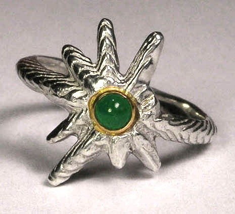 Totran ring-sterling, 14k y gold & emerald