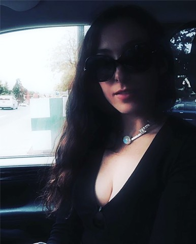 Marissa Nadler wearing her Silver Lightning Moonstone Necklace