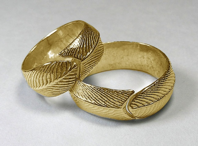 gold hers & his feather rings