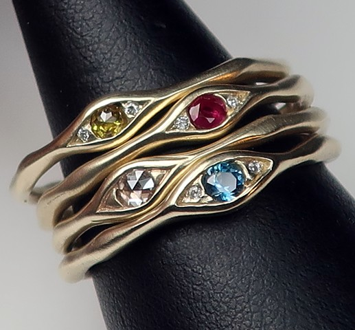 jeweled eye rings, 14 karat gold, diamond, ruby, blue topaz