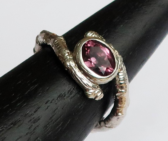 White gold twig ring, custom ring, color changing garnet
