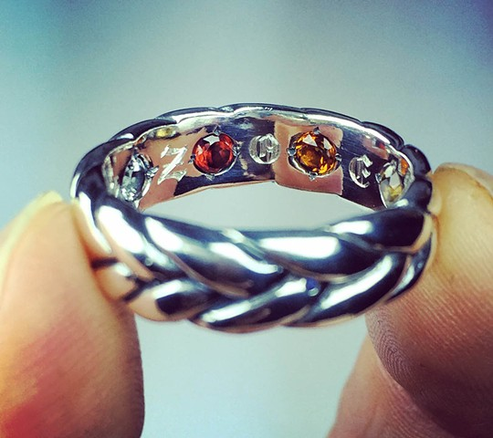 "Rex's ""Hidden Stone""  thick braid wedding ring. View 3"