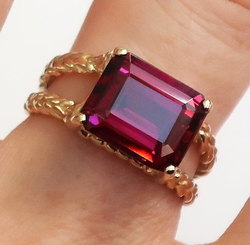 Custom gold and rhodolite ring.