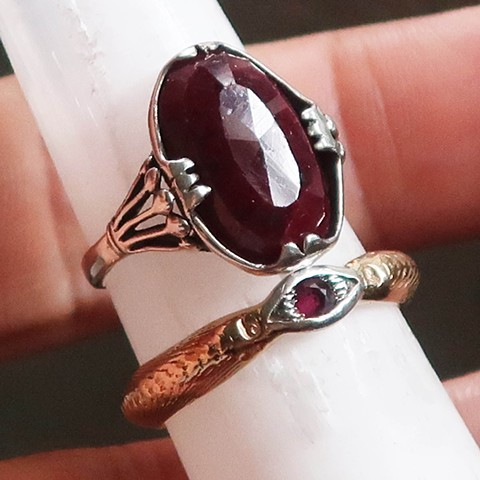Silver and Gold Magickal Ruby Rings