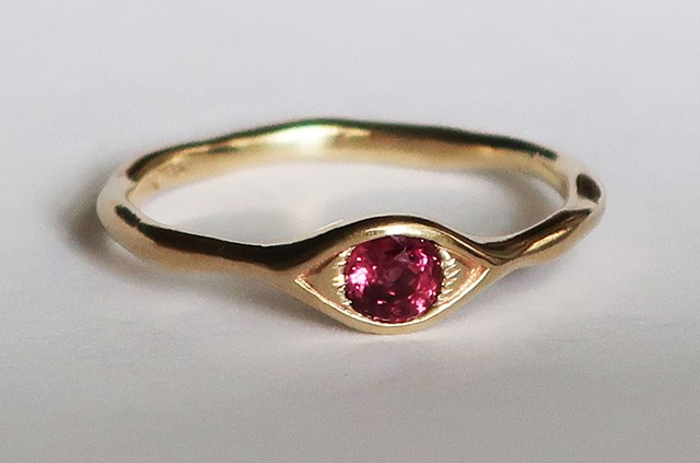 Gold and Ruby Eye Ring
