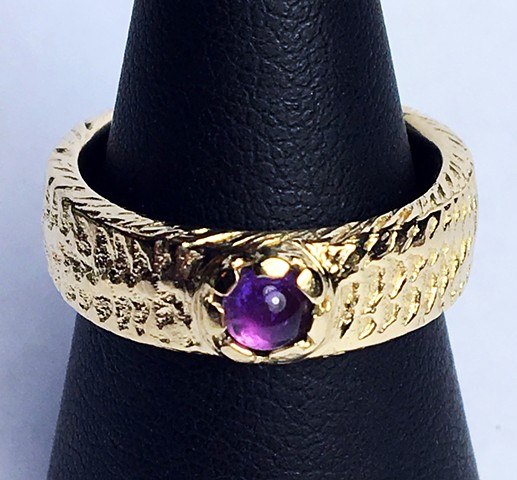 Custom Gold wedding ring, Snakeskin, Amethyst