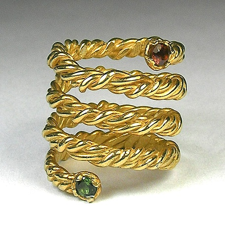 jeweled spring ring 14ky gold plated sterling silver, blue green tourmaline & red garnet