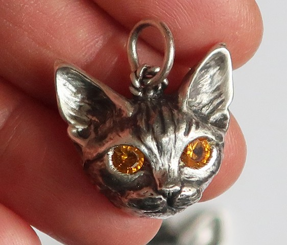 Custom Sterling Silver Cat Charm