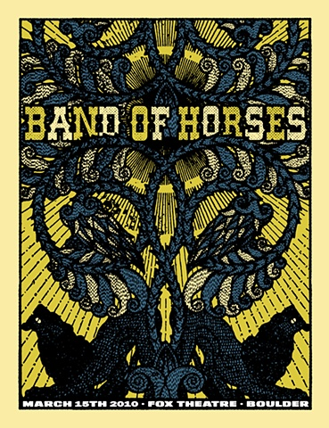 Band of Horses poster, fox theater, boulder colorado