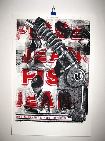 pissed jeans silk screen poster nat damm
