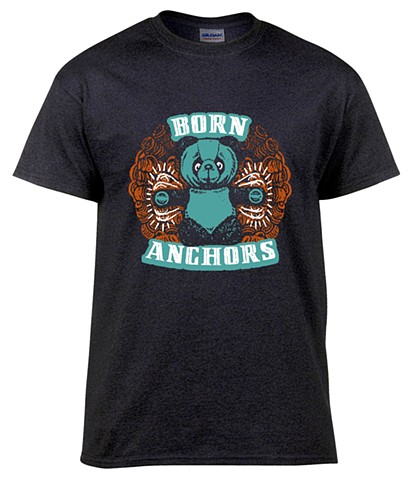 Screen printed T-Shirt design for the band Born Anchors