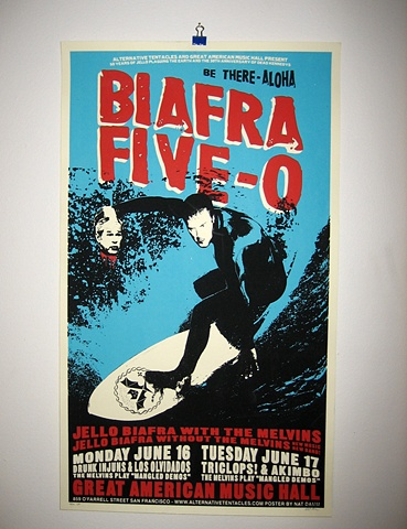 jello biafra the melvins silk screen poster nat damm great american music hall