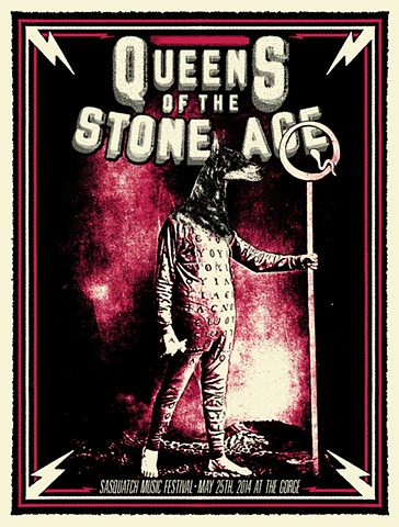 Queens of the Stone Age QOTSA Sasquatch silk screened poster nat damm