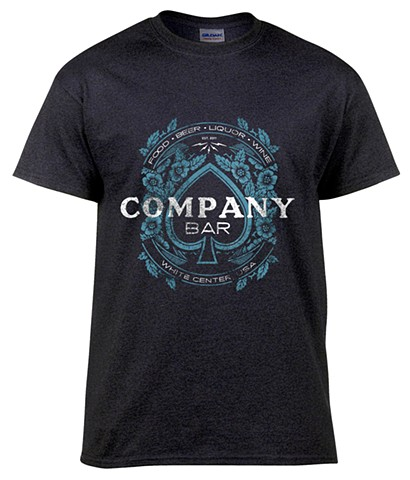 Screen printed T-Shirt design for Company Bar in White Center