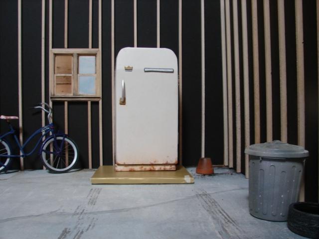 Garage with Old White Fridge