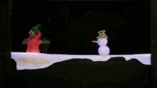 Snowman and little boy hand puppet