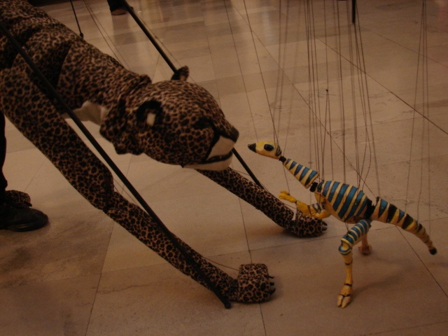 cheetah and Little Dinosaur Marionette