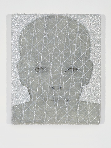 Benjamin Kress Boy's Face with Grid painting