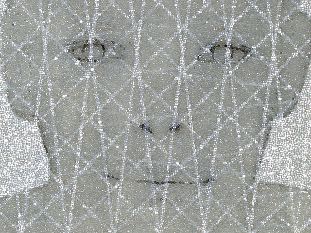 Benjamin Kress Untitled (Boy's Face With Grid) painting