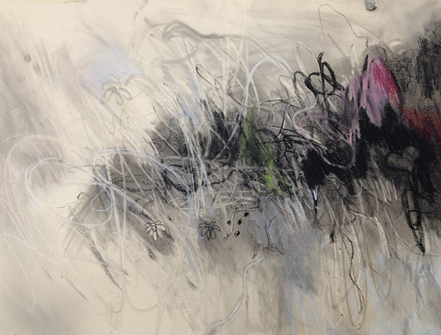 Drawing Charcoal Mixed Media Abstract Flowers