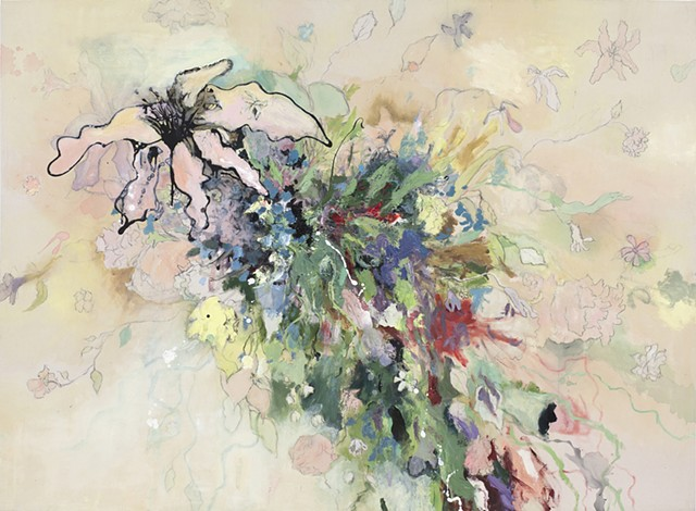 Large Raw Canvas Contemporary Floral Painting