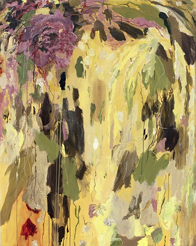Large Vertical Abstract Yellow Plant Painting
