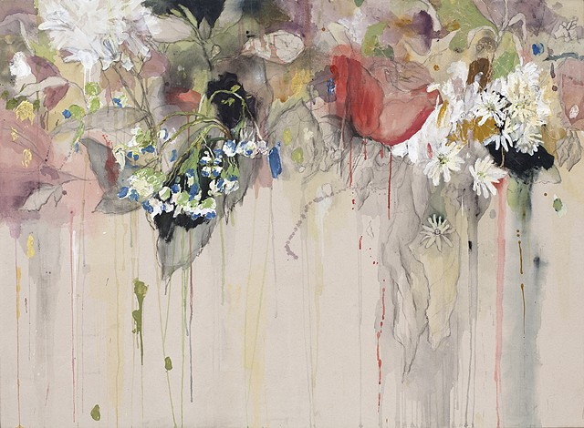Large Abstract Painting of Falling Flowers, Raw Canvas