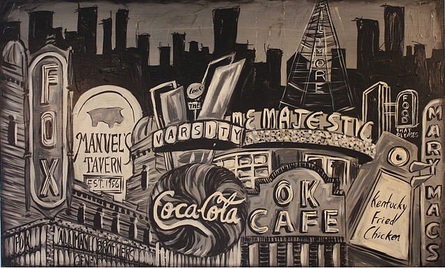 "Atlanta black and white 18"" x 30"""