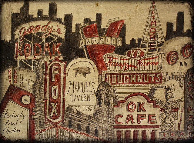 "Atlanta graphite and red 16"" x 20"""