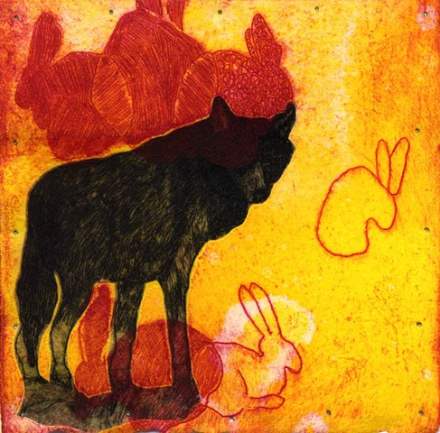 "etching and monotype with chine collé 4"" x 4"""