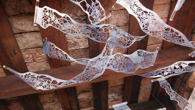 Jill AnnieMargaret, Jill Fitterer, cut paper installation, Trauma, DNA, printmaking, printmaker, waxed washi