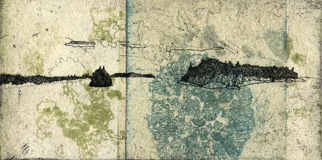 etching, chine colle, printmaking, Isle Royale National Park Artist-in-Residence