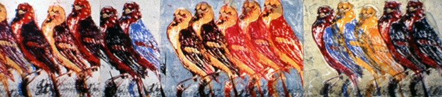 large scale screenprint, western tanagers, by Jill Fitterer