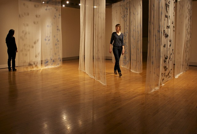 The space is filled with Screenprinted hair on silk, silk gauze creating a space of veiling,  unveiling and protecting.