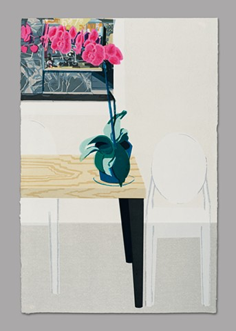 PRINT FAIR STILL LIFE WITH ORCHID, GHOST CHAIRS, AND ESTES PRINT