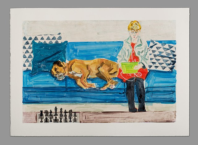 TEENAGER WITH DOG AND CHESS SET (ELIOT AND JACK)