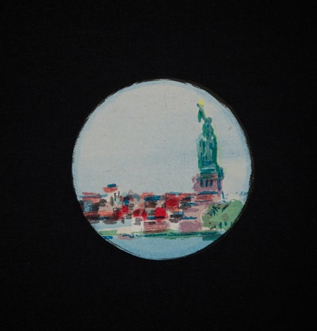 Detail of STATUE OF LIBERTY THROUGH A TELESCOPE