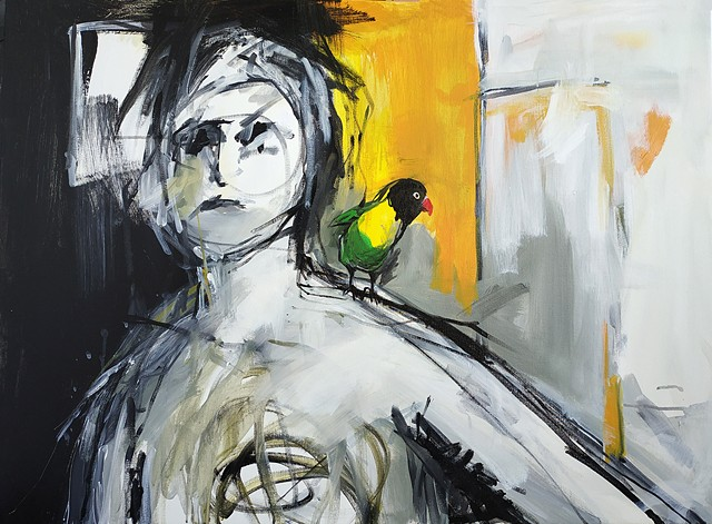 Worried Woman With a Bird