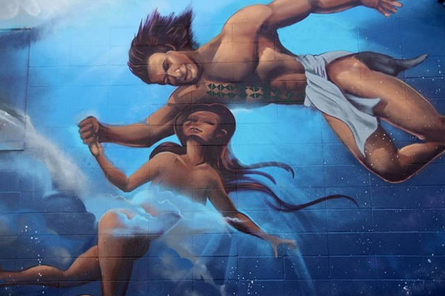 New Beginnings start with Forgiveness - Ku & Hina Hawaiian Gods mural