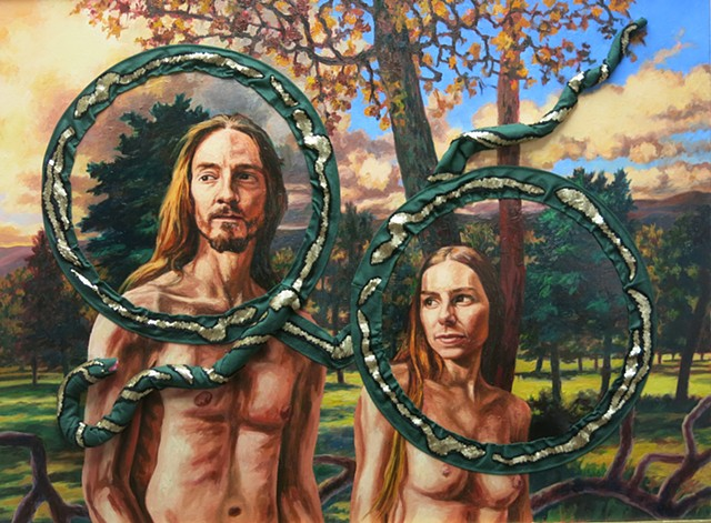 Adam and Eve with hand made snake in the Garden of Eden