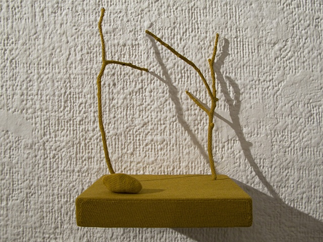 Untitled (shelf with twigs and rock)